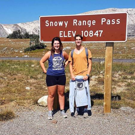 Couple of Aussies at Snowy Range Pass, Wyoming
