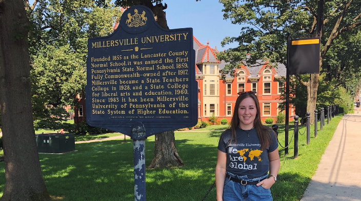 USC student Abby Hannah studying overseas at Millersville University in theUS