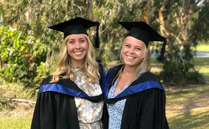 Kaja Øyen and Kristine Røssland from HVL Sogndal in Norway studying at USC SunshineCoast