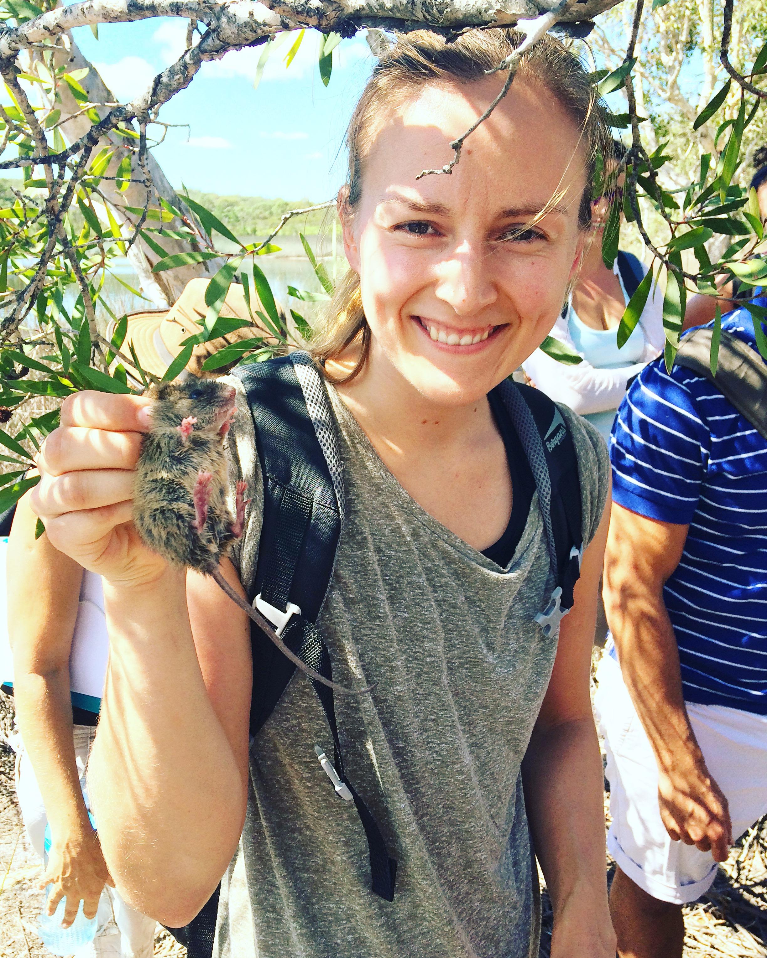 Holding a swamp rat at a field trip on North Stradbroke Island